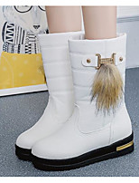 cheap -Women's Shoes PU Spring Fall Comfort Snow Boots Boots Flat Heel Mid-Calf Boots for Casual Khaki Black White