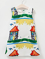 Girl's Holiday Print Dress,Cotton Summer Sleeveless Vintage White