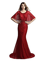cheap -Mermaid / Trumpet Jewel Neck Court Train Lace Prom Formal Evening Dress with Beading Lace by Sarahbridal