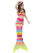 cheap -The Little Mermaid Skirt Swimwear Bikini Kid Christmas Masquerade Festival / Holiday Halloween Costumes Yellow Red Blue Color Block