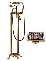 Недорогие -Ар деко/ретро По центру Установка на полу Керамический клапан Две ручки двумя отверстиями Античная медь , Смеситель для ванны