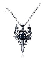 cheap -Men's Dragon Animals Pendant Necklace Cubic Zirconia Stainless Steel Pendant Necklace , Gift Daily