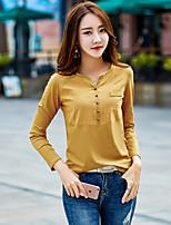 cheap -Women's Daily Casual T-shirt,Solid V Neck Long Sleeve Cotton