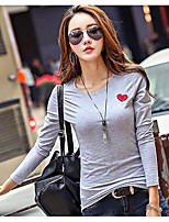 cheap -Women's Daily Vintage Spring T-shirt,Solid Round Neck Long Sleeve Cotton Medium