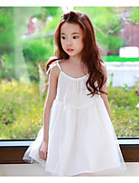 Girl's Holiday Solid Dress,Polyester Summer Sleeveless Simple White