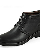 cheap -Men's Shoes Cowhide Winter Fall Comfort Bootie Boots Booties/Ankle Boots for Casual Brown Black