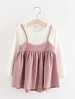 cheap -Girl's Casual/Daily Solid Dress,Cotton Polyester Spring Fall Long Sleeves Simple Blushing Pink Navy Blue Gray
