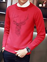 Недорогие -Для мужчин На каждый день Простой Обычный Пуловер С принтом,Круглый вырез Длинные рукава Полиэстер Зима Осень Толстая Слабоэластичная