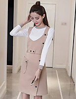 Women's Casual/Daily Simple Fall Set Dress Suits,Solid Round Neck Long Sleeve Pure Color Cotton Micro-elastic