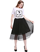 cheap -Women's Going out Vintage Cute T-shirt,Print Animal Print Round Neck Short Sleeve Cotton Medium