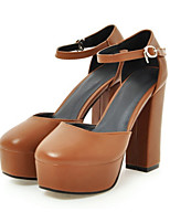 cheap -Women's Shoes PU Spring Summer Comfort Novelty Heels High Heel Round Toe for Wedding Party & Evening Brown Beige Black
