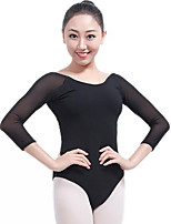 cheap -Ballet Leotards Women's Performance Elastane Split Joint 3/4 Length Sleeve Natural Leotard