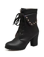 Недорогие -Для женщин Обувь Полиуретан Зима Осень Удобная обувь Оригинальная обувь Модная обувь Ботинки На толстом каблуке Заостренный носок Сапоги