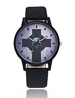 cheap -Men's Women's Casual Watch Unique Creative Watch Chinese Quartz Casual Watch Alloy PU Band Vintage Cool Halloween Black Brown Navy