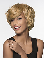 cheap -Women Human Hair Capless Wigs Beige Blonde//Bleach Blonde Medium Auburn Natural Black Short Natural Wave Side Part