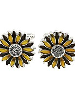 cheap -Sunflower Yellow Cufflinks Alloy Floral Elegant Party Gift Men's Costume Jewelry