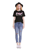 cheap -Women's Holiday Going out Cute Punk & Gothic Spring Summer T-shirt,Solid Animal Print Round Neck Short Sleeve Polyester Medium