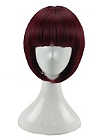 cheap -Women Synthetic Wig Short Straight Dark Red Bob Haircut Cosplay Wig Natural Wigs Costume Wig