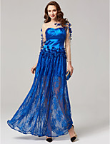 Sheath / Column Jewel Neck Floor Length Lace Stretch Satin Formal Evening Dress with Beading Appliques by TS Couture®