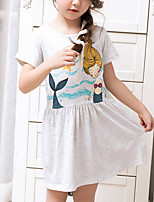 cheap -Girl's Holiday Print Dress,Cotton Summer Short Sleeves Cartoon Gray