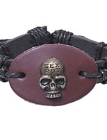 Men's Bracelet , Metallic Oversized Rock Leather Alloy Circle Skull Jewelry Gift Going out