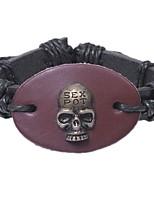 preiswerte -Herrn Armband , Rock überdimensional Leder Aleación Kreisform Totenkopf Schmuck Ausgehen