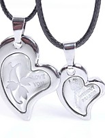 cheap -Men's Women's Heart Heart Lovely Pendant Necklace , Leather Stainless Pendant Necklace , Gift Valentine