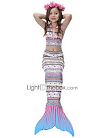 preiswerte -Die kleine Meerjungfrau Rock Bademode Bikini Kind Weihnachten Maskerade Fest / Feiertage Halloween Kostüme Rosa Weiß Blau Violett Gelb