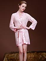 Ultra Sexy Pyjamas Femme,Sexy Dentelle Solide Jacquard Polyester Imitation Soie Noir Rose Claire Chameau