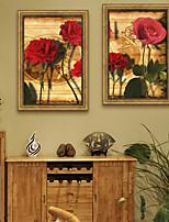 Недорогие -Цветочные мотивы/ботанический Винтаж Иллюстрации Предметы искусства,ПВХ материал с рамкой For Украшение дома Предметы искусства в рамках