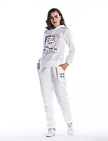 cheap -Women's Daily Holiday Casual Street chic Winter Fall Set Pant Suits,Print Hooded Long Sleeve Cotton
