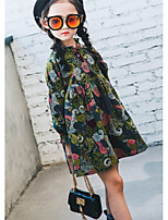 Girl's Casual/Daily Solid Dress,Cotton Fall Long Sleeves Vintage Army Green
