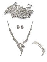 cheap -Women's Hair Combs Bridal Jewelry Sets Rhinestone Fashion European Wedding Party Imitation Diamond Alloy Fox Body Jewelry 1 Necklace 1