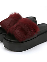 cheap -Women's Shoes PU Fur Spring Fall Comfort Slippers & Flip-Flops Creepers for Casual Burgundy Gray Black