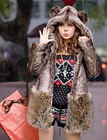 Недорогие -Для женщин На каждый день Осень Пальто с мехом Капюшон,Простой Однотонный Обычная Длинные рукава,Искусственный мех,Меховая оторочка