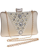cheap -Women Bags Polyester Evening Bag Crystal Detailing Pearl Detailing for Wedding Event/Party All Season Almond Red Black