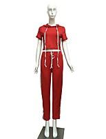 economico -Per donna T-shirt e pantaloni da corsa Manica lunga Fitness Set di vestiti per Yoga Corsa Poliestere Taglia piccola Rosso S M L XL