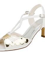 economico -Da donna Scarpe Raso elasticizzato Estate Decolleté scarpe da sposa Basso Punta aperta Fibbia per Formale Serata e festa Avorio