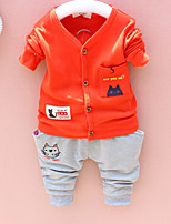 cheap -Boys' Daily Going out Solid Cartoon Clothing Set,Cotton All Seasons Long Sleeve Cute Casual Active Orange Yellow Light Green