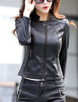 cheap -Women's Casual/Daily Simple Winter Fall Leather Jacket,Solid Round Neck Long Sleeve Regular Others