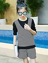 cheap -Girls' Daily Striped Clothing Set,Cotton Rayon Fall Cute Casual Black