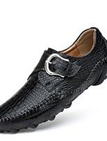 Недорогие -Муж. обувь Кожа Весна Осень Удобная обувь Обувь для дайвинга Топ-сайдеры для Повседневные Для вечеринки / ужина Черный Хаки