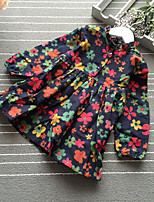 Girl's Casual/Daily Floral Dress,Cotton Winter Fall Long Sleeves Simple Navy Blue