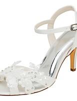 Femme Chaussures Satin Elastique Eté Escarpin Basique Chaussures de mariage Talon Aiguille Bout ouvert Cristal Perle pour Habillé Soirée