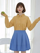cheap -Women's Daily Vintage Shirt,Solid Round Neck Long Sleeve Cotton