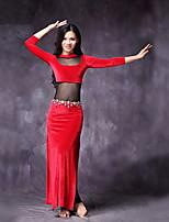 abordables -Danza del Vientre Vestidos Mujer Actuación Raso de Terciopelo Separado Manga de longitud 3/4 Cintura Media Vestidos