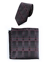Men's Polyester Necktie,Simple Casual Striped All Seasons Wine