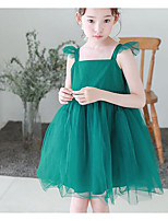 Girl's Holiday Solid Dress,Polyester Summer Sleeveless Simple Green Red