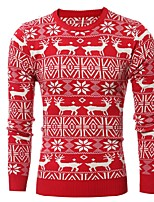 cheap -Men's Daily Holiday Casual Regular Pullover,Print Round Neck Long Sleeve Polyester Spandex Winter Fall Thick Stretchy