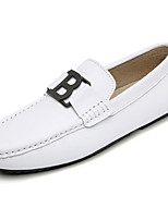 cheap -Men's Shoes Cowhide Spring Fall Comfort Loafers & Slip-Ons for Casual Black White